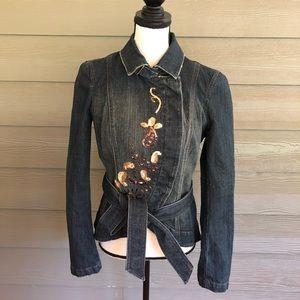 Vintage Calvin Klein Sequin Jean Jacket Belt L